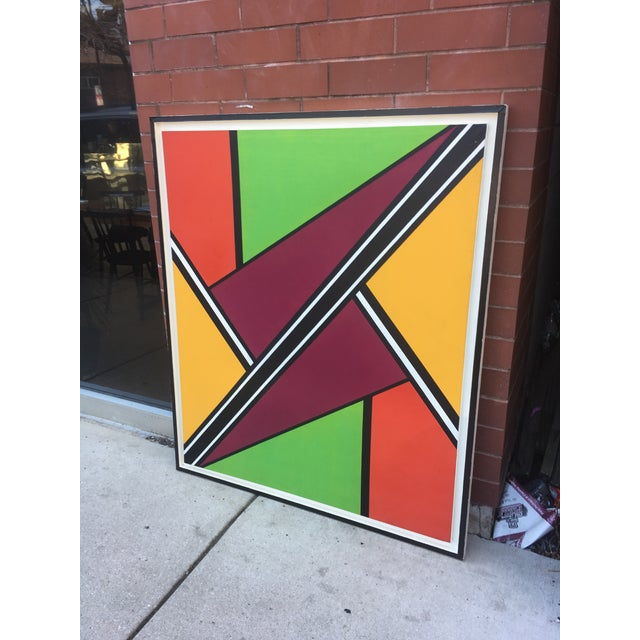 """Vintage Mid-Century """"Intersection #3"""" Oil & Acrylic Painting For Sale - Image 4 of 9"""