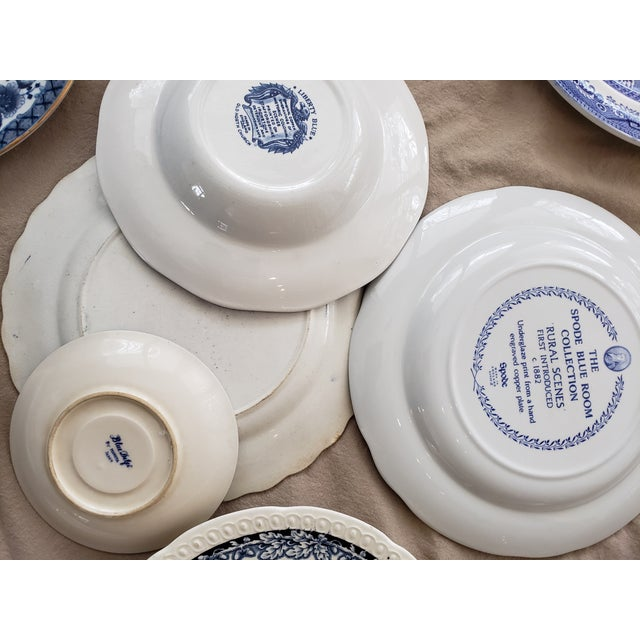 Mid 20th Century Vintage Blue & White China Plates-Set of 25 For Sale - Image 5 of 9