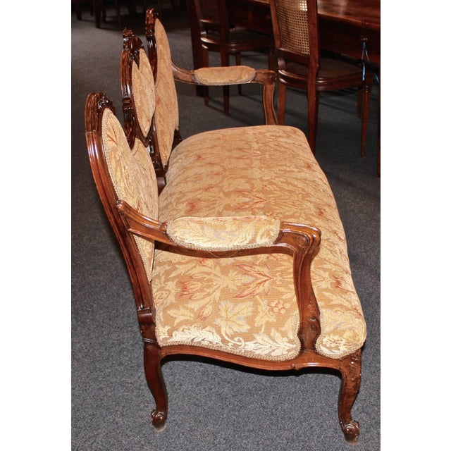 Walnut French Louis XV Walnut Settee For Sale - Image 7 of 9