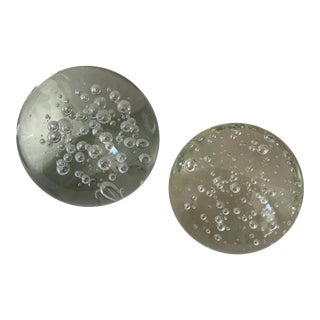 Crystal Bubble Ball Paperweights - Set of 2