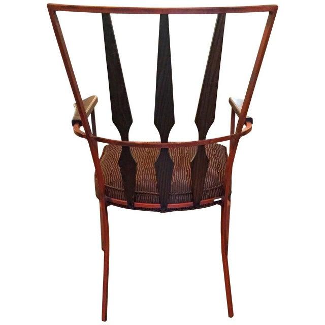 S/4 Mid Century Modern Enameled Steel & Walnut Armchairs Salterini Style - Image 3 of 4