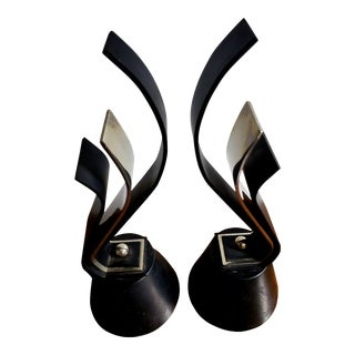 Mid Century Modern Blackened Steel and Polished Nickel Andirons - a Pair For Sale