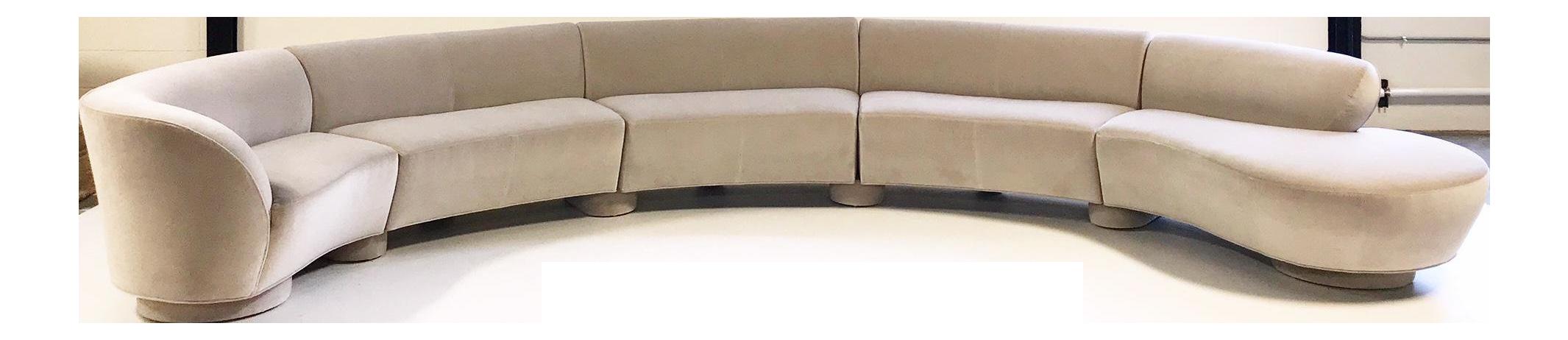 Vintage Vladimir Kagan 5 Piece Cloud Sectional Sofa Restored In Loro Piana  Grey Velvet For