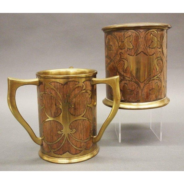 Victorian Art Nouveau Rosewood & Brass Humidor & Cup For Sale - Image 3 of 7