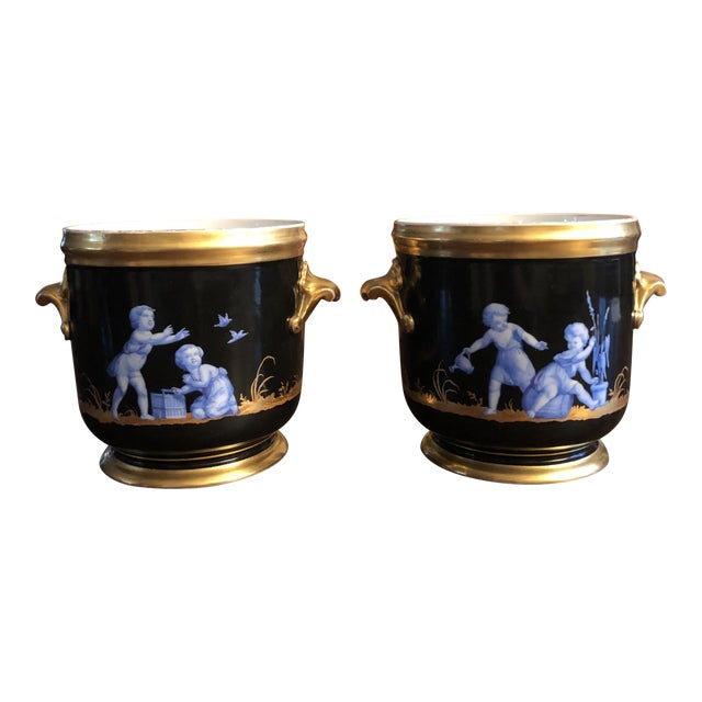 Antique French Gilt Soft Paste Two Handled Seaux a Bouteille or Wine Buckets - a Pair For Sale