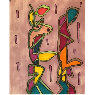 1980s Abstract Marker Drawing Nyc Artist John Peters For Sale