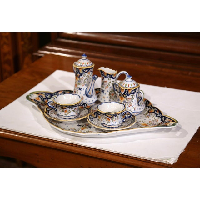 Early 20th Century Early 20th Century French Hand-Painted Faience Coffee Set From Blois - 10 Pc. Set For Sale - Image 5 of 9