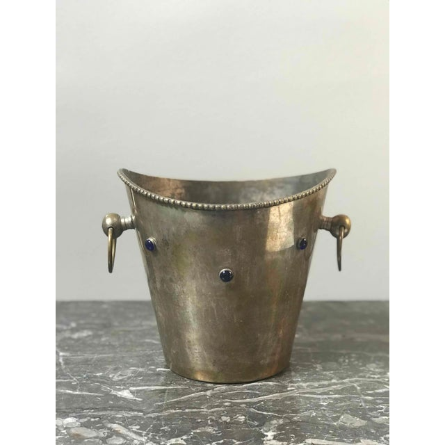 Pair of champagne or wine buckets with blue stones from France circa 1900.