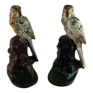Antique Parrot Cast Iron Painted Bookends - a Pair For Sale
