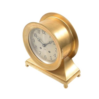 Chelsea Ship's Bell Brass Clock C. 1930s For Sale