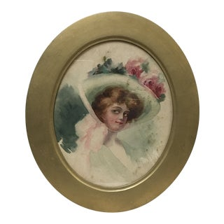 1900s Vintage Gibson Girl Watercolor Painting For Sale