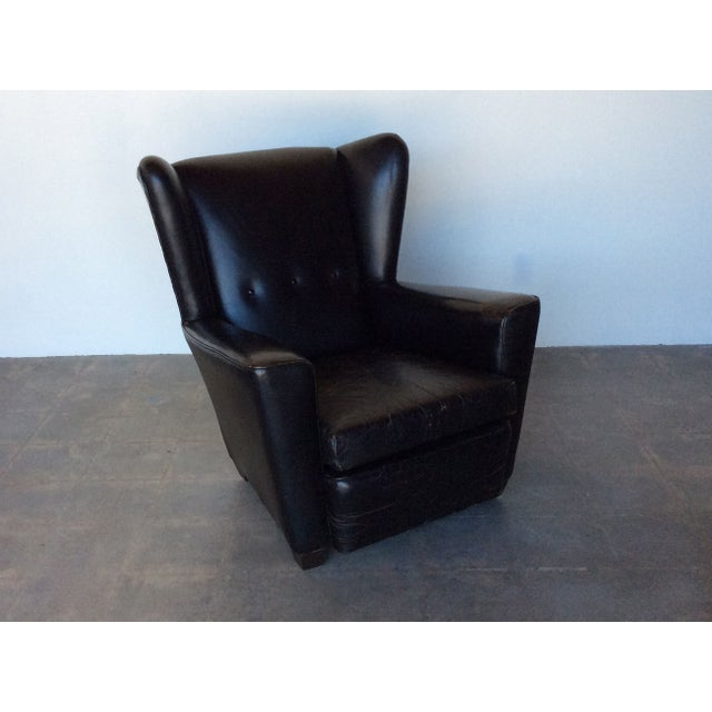 Vintage Black Leather Wing Chair - Image 6 of 7