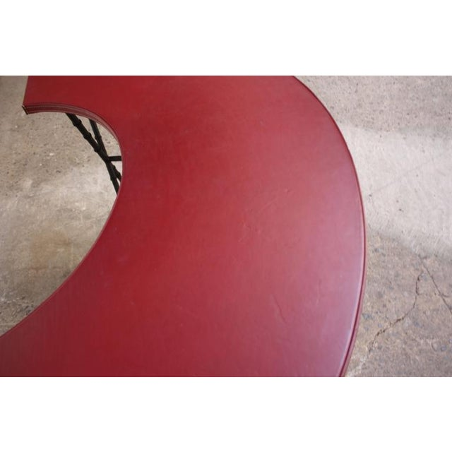 1950s 1950s Red Leather and Faux-Bamboo Demilune Desk Table For Sale - Image 5 of 10