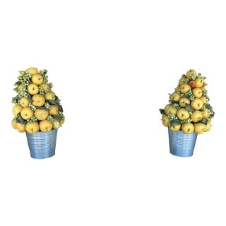 Apple Topiaries in Metal Containers - a Pair For Sale