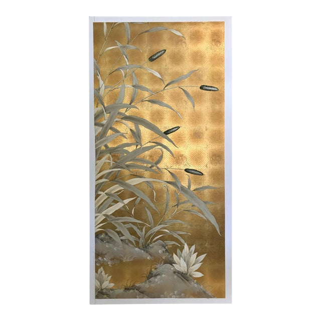 Chinoiserie Old Handpainted Wallpaper Panel - Gold Metal Leaf With Pussy Willow Motif For Sale