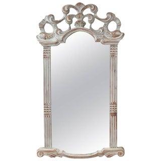 1980s Regency Carved Whitewash Wooden Mirror For Sale