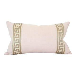 Greek Key Trim Pale Pink Linen Lumbar Pillow Cover
