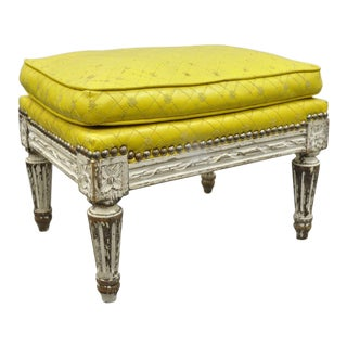 French Country Louis XVI Style White Paint Yellow Small Ottoman / Stool