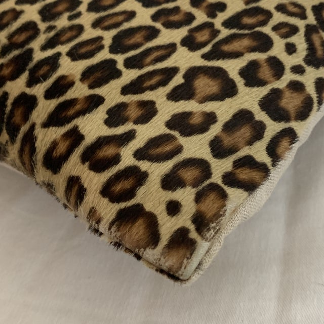 Brown Leopard Pillow Cowhide Leather Pottery Barn For Sale - Image 8 of 11