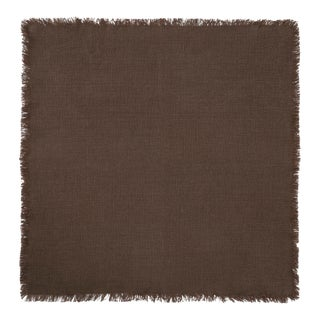 Once Milano Linen Napkin With Fringing in Brown For Sale