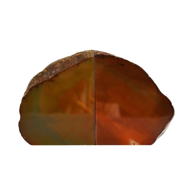 Red Agate Natural Geode Stone Bookends - a Pair For Sale