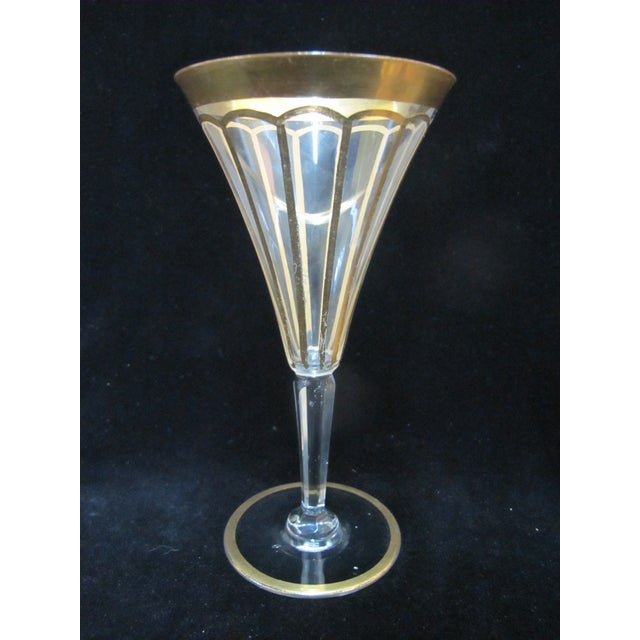 Early 20th Century Vintage Gold Gilt & Clear Champagne Wine Glasses- Set of 6 For Sale In Portland, OR - Image 6 of 7