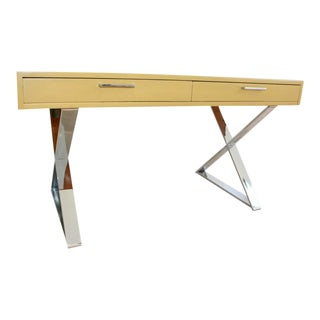 1960s Mid-Century Modern Milo Baughman Style X-Base Campaign Desk