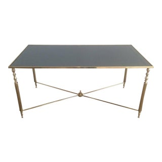 Brass Coffee Table With Original Blue Grey Mirror Top