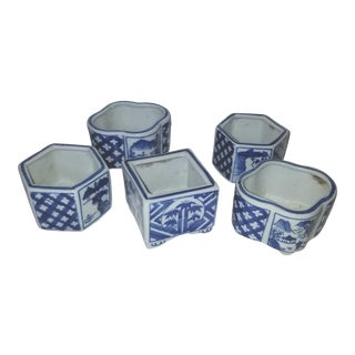 1980s Chinese Blue and White Votive Candle Holders - Set of 5 For Sale