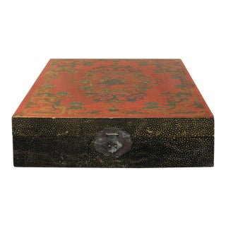 Chinese Distressed Red Lacquer Treasure Symbol Graphic Square Box For Sale