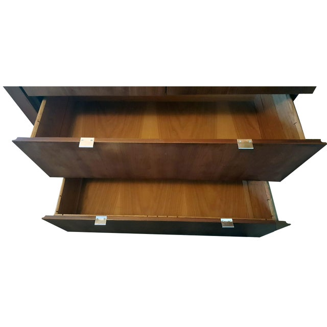 Chrome 1970s Danish Modern Dillingham Walnut Conjoined Twin Enclosed Storage Cabinets - a Pair For Sale - Image 7 of 13