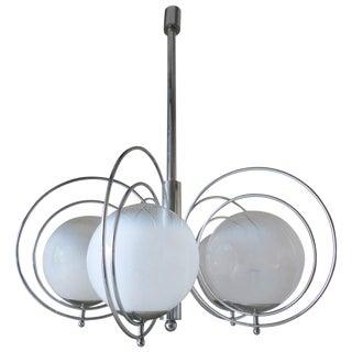 Italian Mid-Century White Murano Globes Chandelier by Sergio Mazza For Sale