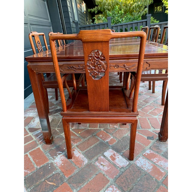 Vintage Solid Rosewood Dining Set - 9 Pieces For Sale In Los Angeles - Image 6 of 13