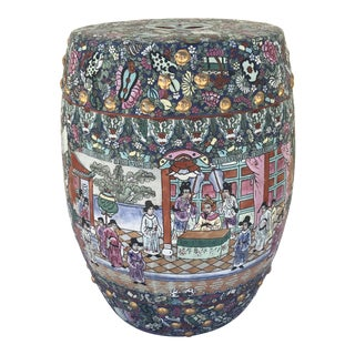 Chinese Porcelain Famille Rose Garden Stool For Sale