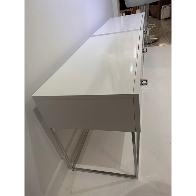 Metal Bedside Tables Nightstands in White Lacquer by Rougier - a Pair For Sale - Image 7 of 13