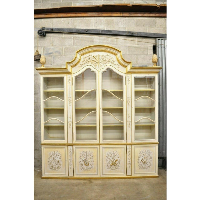 Italian Regency Cream and Gold Gilt Breakfront China Cabinet For Sale - Image 12 of 13