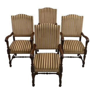 Set of 4 Massive Striped Hall Room Vintage Provincial Style Throne Chairs Original Tapestry For Sale