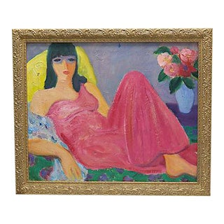 Mid-Century French Painting of a Woman