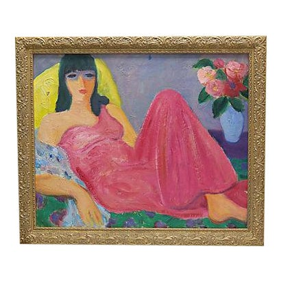 Mid-Century French Painting of a Woman - Image 1 of 3