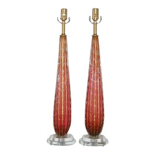 Vintage Murano Glass Teardrop Table Lamps in Cranberry
