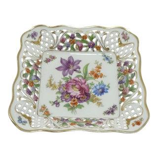 Vintage Schumann Floral Bouquet Porcelain Square Bon Bon Dish For Sale