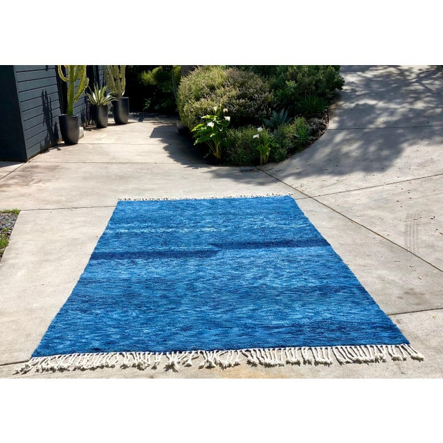 Custom Made Blue Beni Ourain Moroccan Rug - 8′ × 13′ For Sale - Image 4 of 4