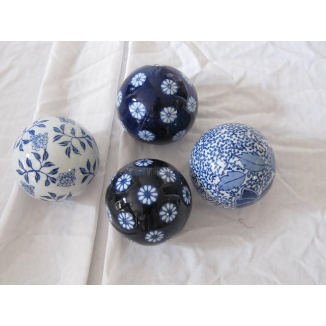 Asian Chinoiserie Blue & White Spheres-4 Pieces For Sale - Image 3 of 3