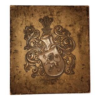 Late 20th Century Leather Plaque With Crest and Nailhead Trim For Sale