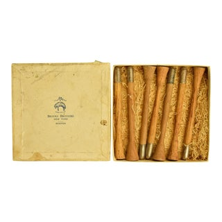 Brooks Brothers Wood & Sterling Tip Muddlers in Box - Set of 7