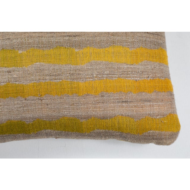 Indian Handwoven Pillow Ocean Stripe Yellow For Sale - Image 4 of 6