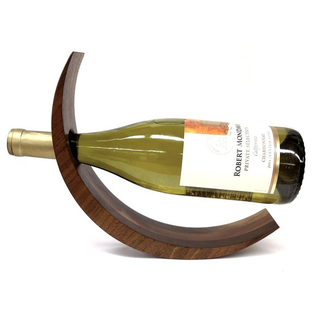 Contemporary Curved Wood Floating Wine Bottle Holder For Sale - Image 3 of 9