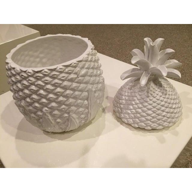 Figurative Vellum Italian Ceramic Pineapple Covered Box 2 Pieces For Sale - Image 3 of 11