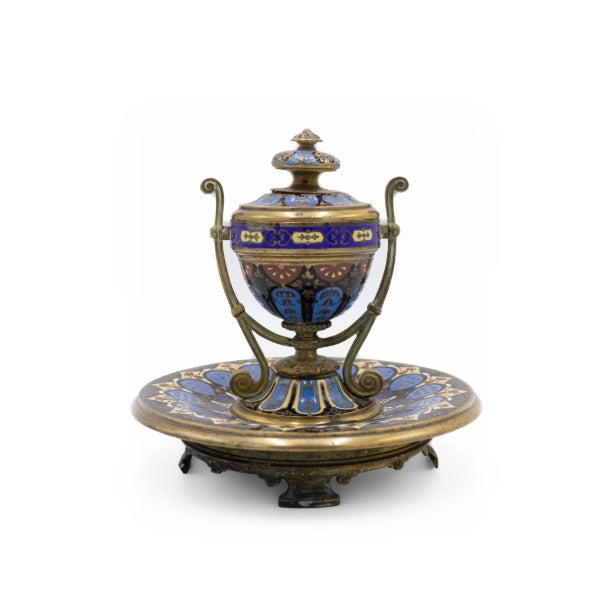 French Victorian Enamel Urn Shaped Inkwell For Sale In New York - Image 6 of 6