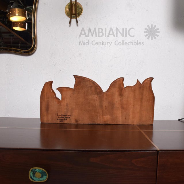 Wood Abstract Wood Sculpture the Last Supper Signed Victor Rozo For Sale - Image 7 of 9